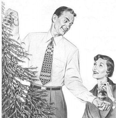 vintage couple decorating christmas tree illustration