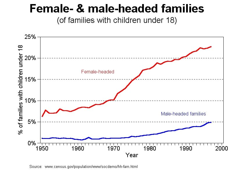 female and male headed families graphs