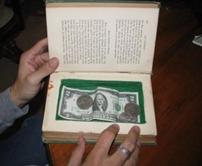 Homemade book safe secret compartment for money.