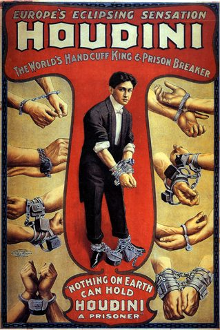 Harry Houdini's poster about the world's handcuff king and prison breaker.