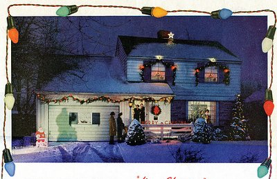 christmas lights on country house postcard