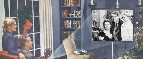 vintage couple watching movie illustration wonderful life