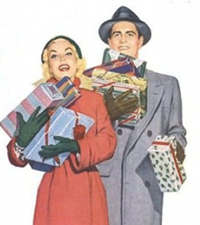 vintage couple holding christmas presents illustration