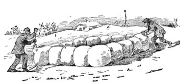 young men building snow fort illustration drawing