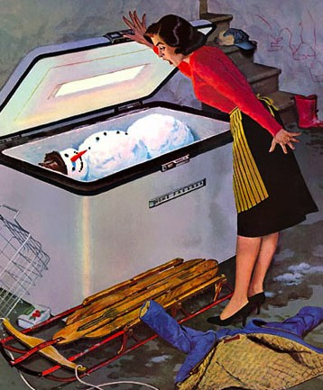 snowman frosty in freezer vintage painting illustration