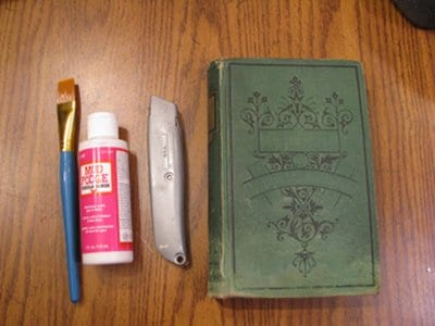 diy homemade book safe supplies razor glue brush