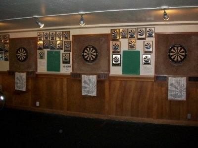 Dart room displayed in sports hall.
