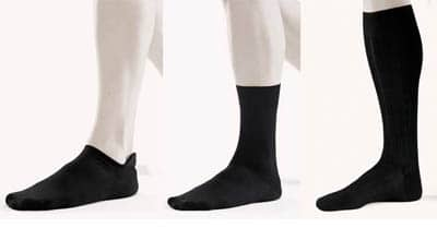 various sock length comparison low cut ankle knee