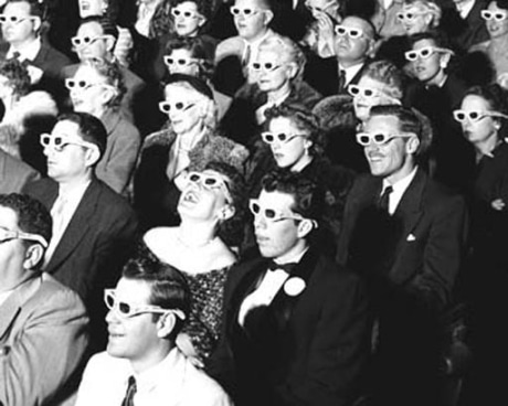 vintage movie theater crowd wearing 3d glasses