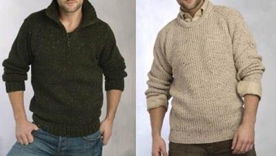 versatile travel sweater shawl collar khaki and green