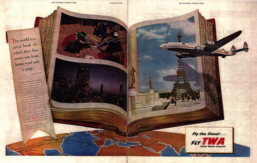 vintage twa ad advertisement airplane flying book