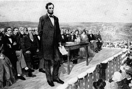 abraham lincoln giving speech on platform illustration