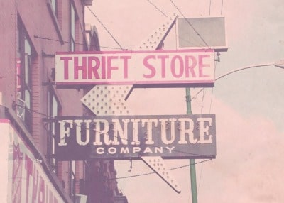 The signboard of thrift store furniture company.