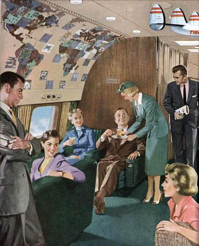 vintage twa airplane cabin painting illustration