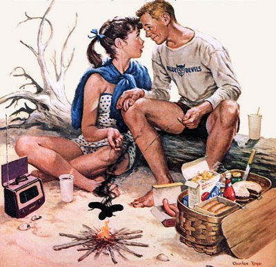 vintage college students on picnic date illustration painting