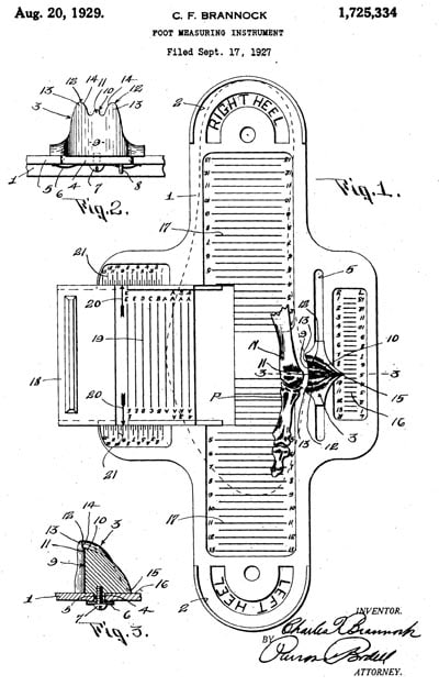 Brannock device patent image measuring feet shoe size