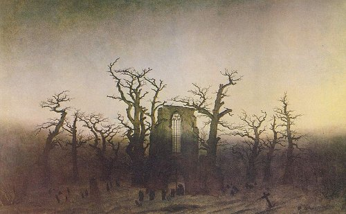 Abbey in an Oak Forest, by Caspar David Friedrich, 1810