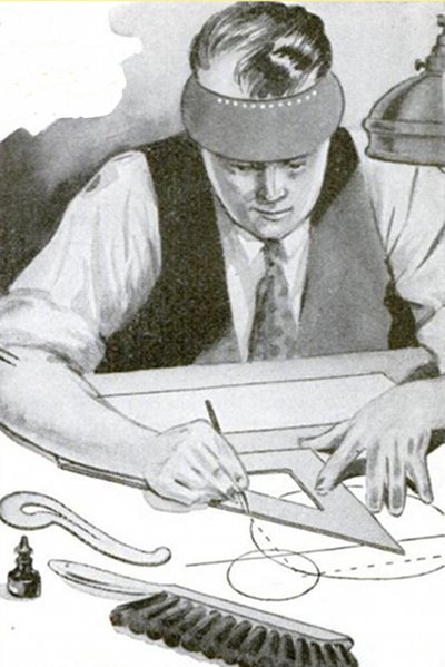 vintage craftsman drafting drawing illustration