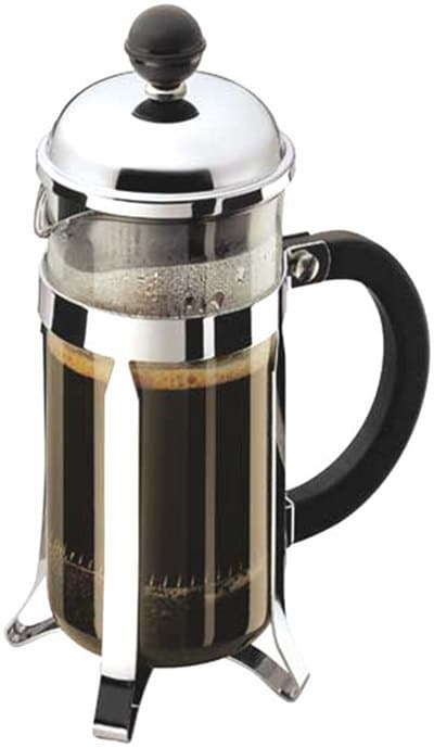 french press coffee maker full of coffee