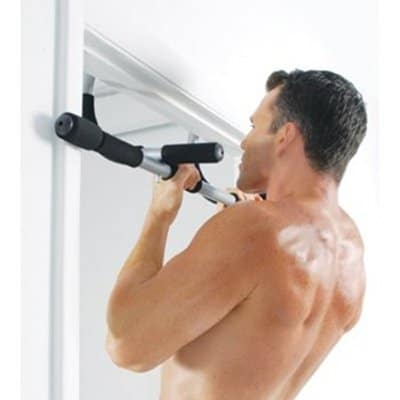 iron gym pull up bar man working out doorway