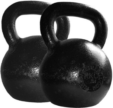 two plain black kettle bells for fitness workouts