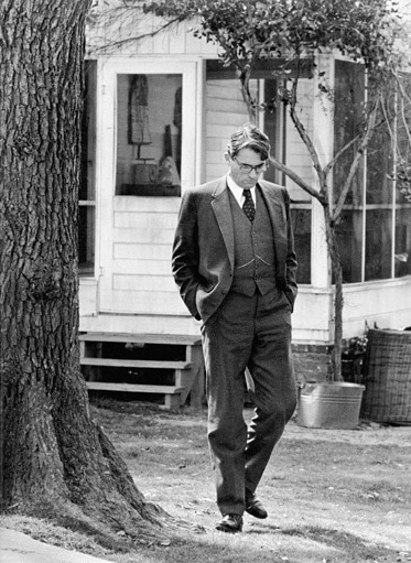 gregory peck atticus finch head down walking tkam
