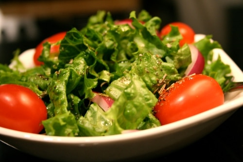 homemade house salad lettuce cherry tomatoes