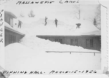 Men shoveling snow from the roof of house.