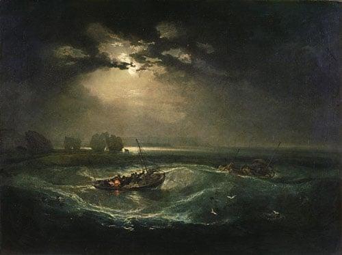 Fishermen at sea illustration.