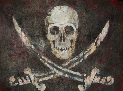 jolly roger skull swords pirate sign artwork painting