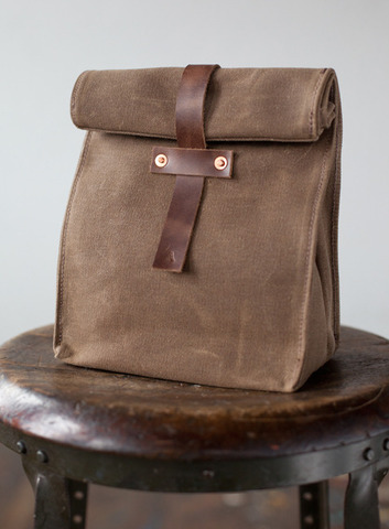 Brown bag placed on chair.