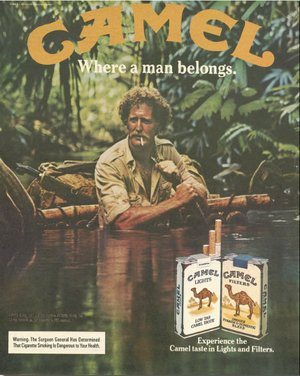 Camel cigarettes where a man belongs vintage advertisement.