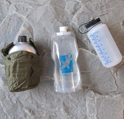 bug out bag supplies water canteen plastic bottles