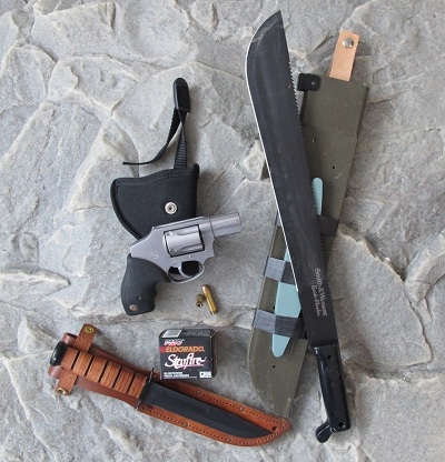 bug out bag supplies weapons self defense gun knife