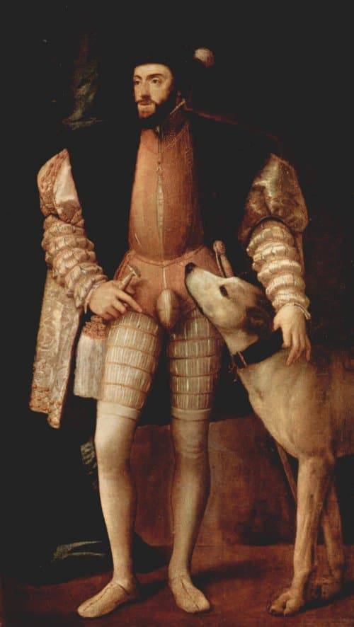 Man wearing codpiece with dog illustration.