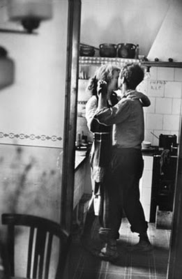 vintage couple dancing in kitchen 1950s dinner date