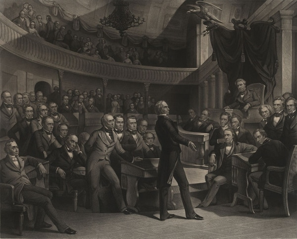 Henry Clay giving speech to audience.