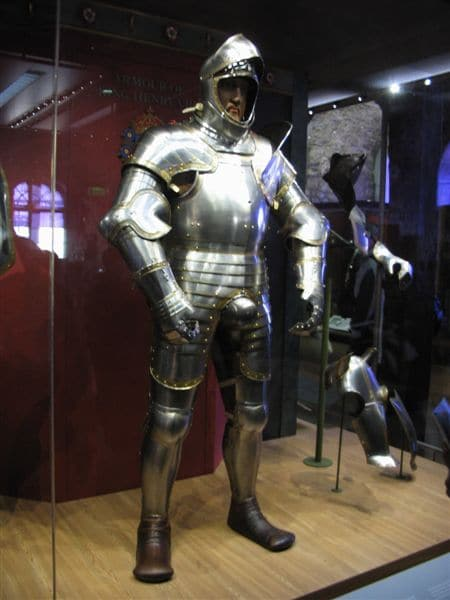 suit of armor in museum with codpiece