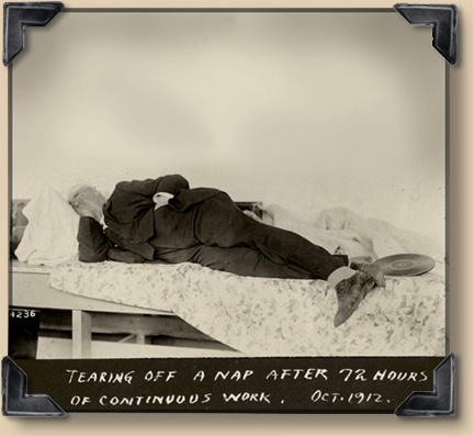 Vintage man tearing off a nap after 72 hours of continuous work.