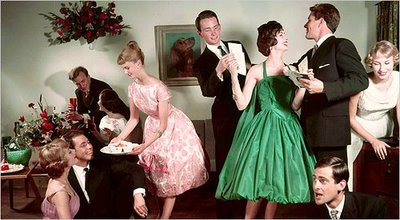 vintage 1960s house party serving drinks talking