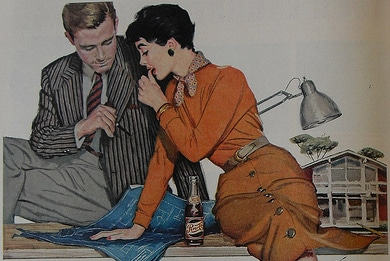 vintage man woman in office looking at blueprints illustration