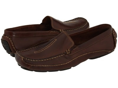 leather slip on loafer brown no laces