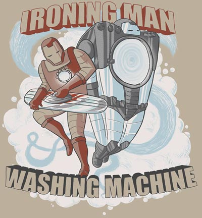 ironing man and washing machine super heroes artwork