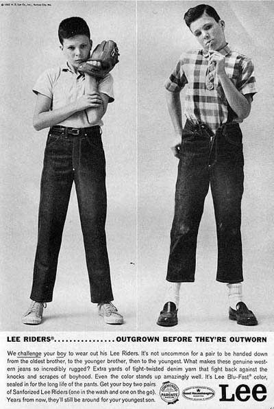vintage Lee Jeans denim ad advertisement young boys