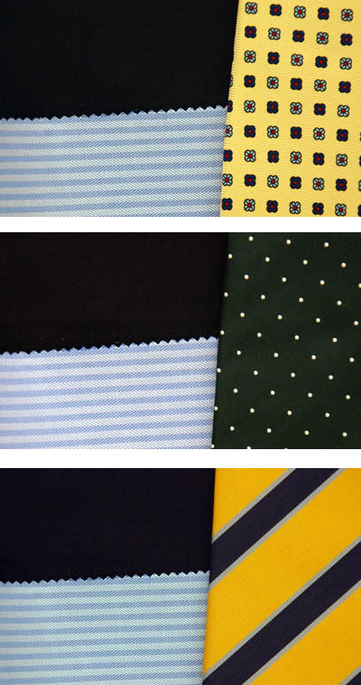 Navy Suit Herringbone Dress Shirt matched with tie patterns