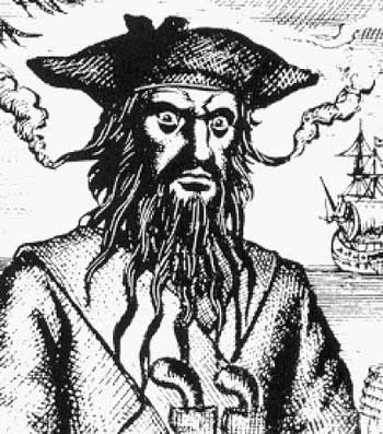 "Edward Teach ""Blackbeard"" pirate black white drawing"