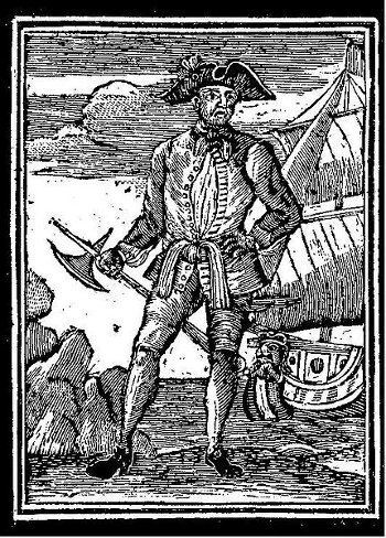 edward england pirate wood cut engraving with ax