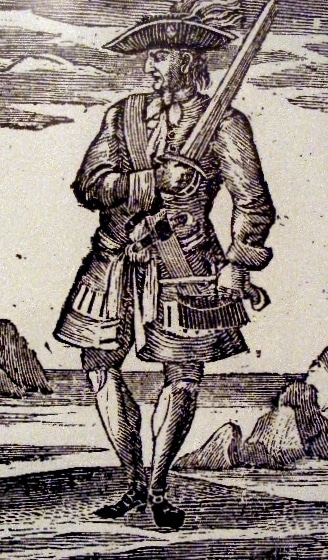 """Calico Jack"" Rackham pirate wood cut engraving with sword"