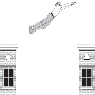 Man jumping from rooftop illustration.