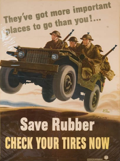 vintage save money poster check tires military jeep